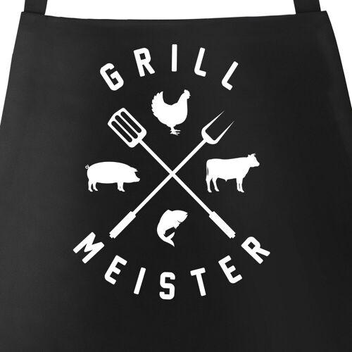 MoonWorks Grillschürze »Grill-Schürze für Männer mit Spruch Grillmeister Hipster Kreuz Grillen Fun-Shirt Grillen Baumwoll-Schürze Küchenschürze ®«, mit kreativem Aufdruck