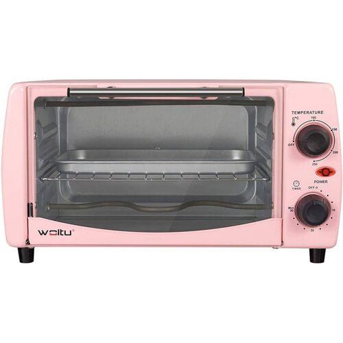 Woltu Minibackofen, Mini Backofen 12 Liter, 800 Watt Toasterofen mit Timer, rosa