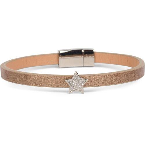 styleBREAKER Armband »Schmales Armband mit Stern & Strass«, Schmales Armband mit Stern & Strass, Goldbraun