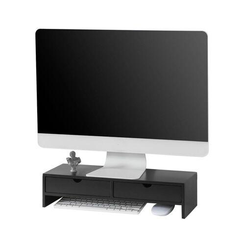 SoBuy »BBF02« Monitor-Halterung, (Bildschirm Ständer Monitorerhöhung Bildschirmerhöher Monitorständer mit 2 Schubladen), schwarz