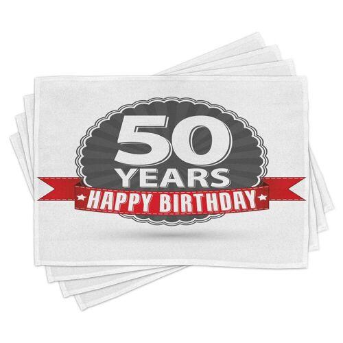 Abakuhaus Tischdecke, »Waschbare Stoff Esszimmer Küche Tischdekorations Digitaldruck«, , (4-teilig, 4 Teilig-St., Set aus 4x), 50. Geburtstag 50. Geburtstag Retro