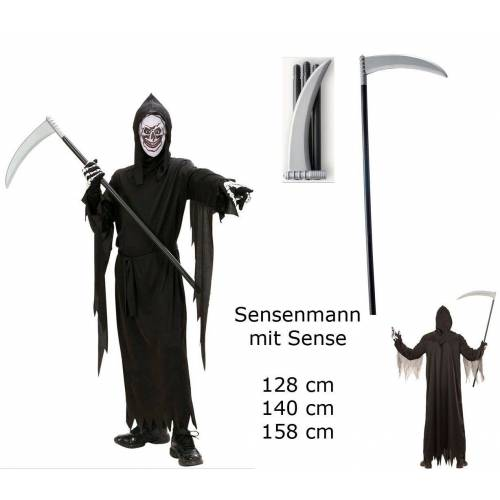 Scherzwelt Kostüm »Kinder Kostüm Sensenmann + Sense - Robe Gürtel Maske Kapuze Sense«
