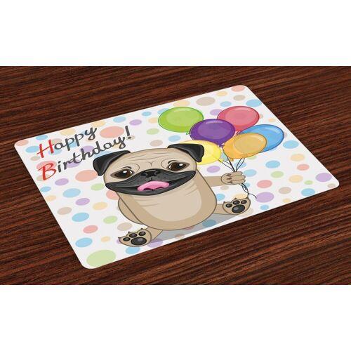 Abakuhaus Tischdecke, »Waschbare Stoff Esszimmer Küche Tischdekorations Digitaldruck«, , (4-teilig, 4 Teilig-St., Set aus 4x), Geburtstag Geburtstags-Mops-Hund