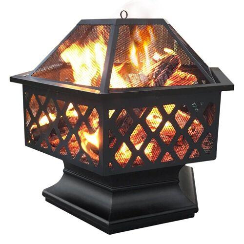 Yaheetech Feuerstelle, Ø 61cm Garten Feuerkorb, sechseckige Feuerschale, Feuerschale für Außenterrasse Hinterhof Campinggarten, Firepit Terrasse, Maschendraht & Schürhaken, Funkenschutzgitter