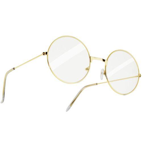 tectake Kostüm »Runde Retrobrille mit goldenem Rahmen«