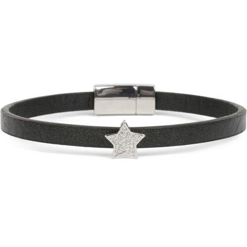 styleBREAKER Armband »Schmales Armband mit Stern & Strass«, Schmales Armband mit Stern & Strass, Schwarz