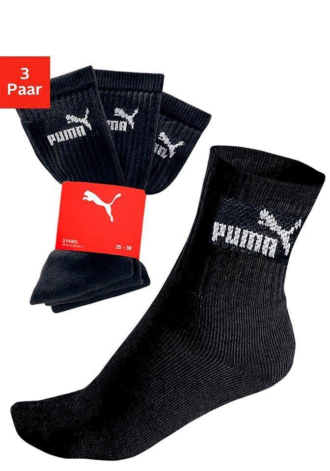 Puma Freizeitsocken (3-Paar) in strapazierfähiger Qualität, schwarz