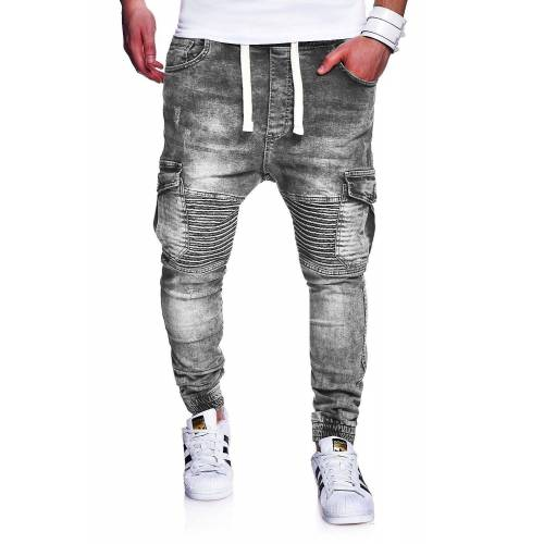 behype Slim-fit-Jeans »MORI« im Jogger-Stil, grau