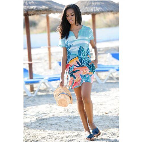 Alba Moda Strandkleid mit sommerlichem Druck, blau-bunt