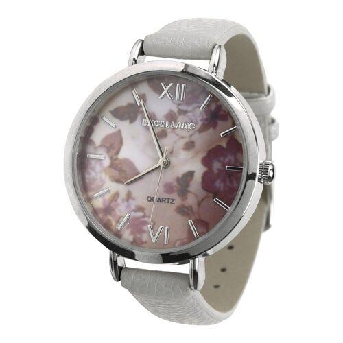 heine Armbanduhr mit floralem Ziffernblatt