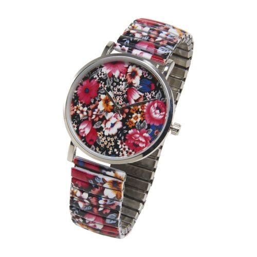 heine Armbanduhr mit Blumen, bunt