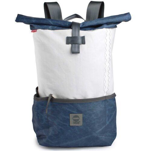 360Grad Handtasche »360 Grad Rucksack Lotse aus Segeltuch mit blauem Balken Segeltuchtasche«