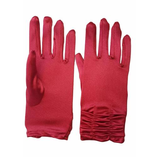 Family Trends Abendhandschuhe »Satin Damen Handschuhe kurz mit Raffung dehnbar« im Satin-Look, rot