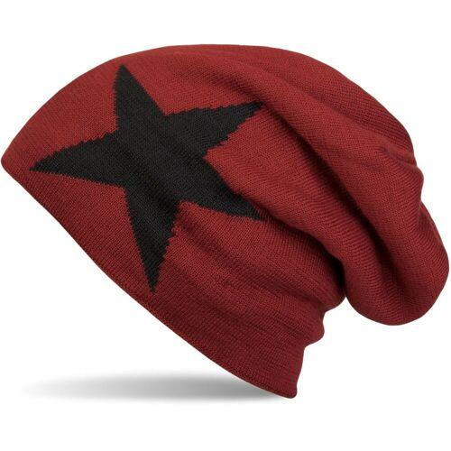 styleBREAKER Strickmütze »Strick Beanie Mütze mit Stern«, Rot