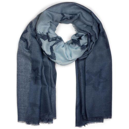 styleBREAKER Schal »Schal mit Farbverlauf und Sterne« Schal mit Farbverlauf und Sterne, Blau-Hellblau