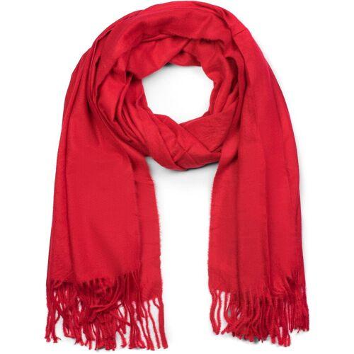 styleBREAKER Schal »Weicher Schal Uni mit Fransen« Weicher Schal Uni mit Fransen, Rot