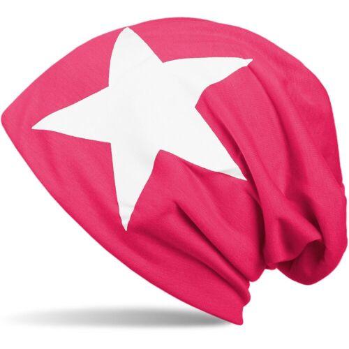 styleBREAKER Beanie »Beanie mit Stern Print«, Pink-Weiß