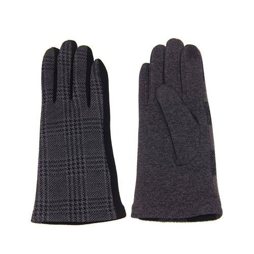 leslii Handschuhe mit elegantem Karo-Muster, schwarz-grau