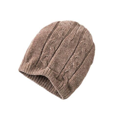 Classic Set: Schal und Mütze mit Zopfmuster, taupe