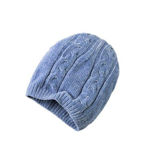 Classic Set: Schal und Mütze mit Zopfmuster, bleu