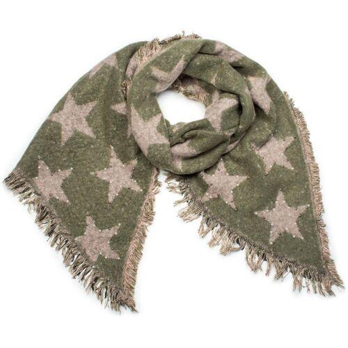 styleBREAKER XXL-Schal »Weicher Schal mit Sternen und Perlen« Weicher Schal mit Sternen und Perlen, Oliv-Altrose