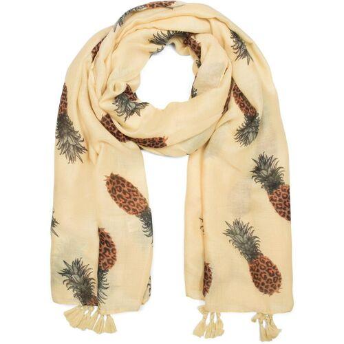 styleBREAKER Schal »Schal mit Ananas Print und Quasten« Schal mit Ananas Print und Quasten, Gelb