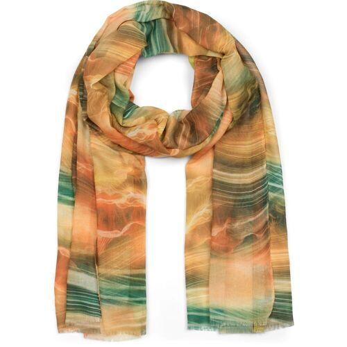 styleBREAKER Schal »Schal mit maritimem Wellen Muster« Schal mit maritimem Wellen Muster, Gelb-Orange-Grün