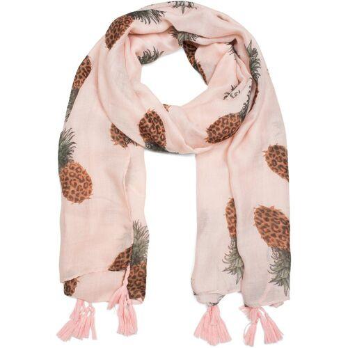 styleBREAKER Schal »Schal mit Ananas Print und Quasten« Schal mit Ananas Print und Quasten, Rosa