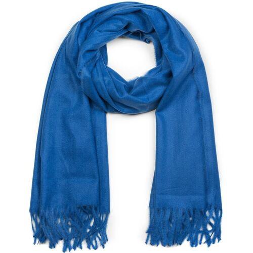 styleBREAKER Schal »Weicher Schal Uni mit Fransen« Weicher Schal Uni mit Fransen, Blau
