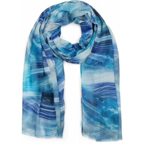 styleBREAKER Schal »Schal mit maritimem Wellen Muster« Schal mit maritimem Wellen Muster, Blau-Weiß
