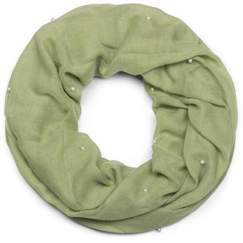 styleBREAKER Loop »Loop Schal mit Perlen Applikation« Loop Schal mit Perlen Applikation, Oliv
