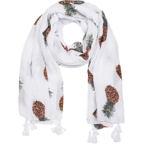 styleBREAKER Schal »Schal mit Ananas Print und Quasten« Schal mit Ananas Print und Quasten, Weiß