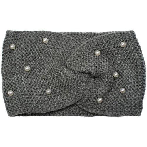 styleBREAKER Stirnband »Strick Stirnband mit Twist Knoten und Perlen«, Grau