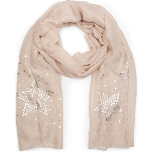styleBREAKER Schal »Schal mit Pailletten Sternen« Schal mit Pailletten Sternen, Hellbraun