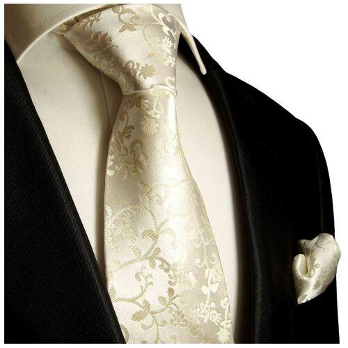 Paul Malone Krawatte »Hochzeitskrawatte mit Tuch floral 100% Seide Bräutigam Hochzeit« (Set, 2-St., Krawatte mit Einstecktuch) Schmal (6cm), champagner 948, champagner