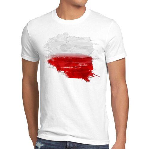 style3 Print-Shirt Herren T-Shirt Flagge Polen Fußball Sport Polska WM EM Fahne, weiß