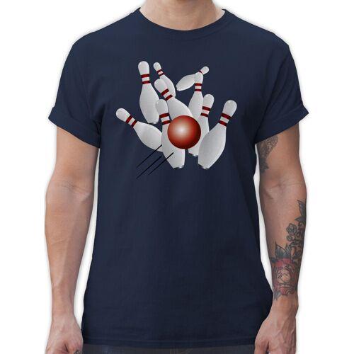 Shirtracer T-Shirt »Kegeln alle 9 Kegeln Kugel - Bowling & Kegeln - Herren Premium T-Shirt«, 3 Navy Blau