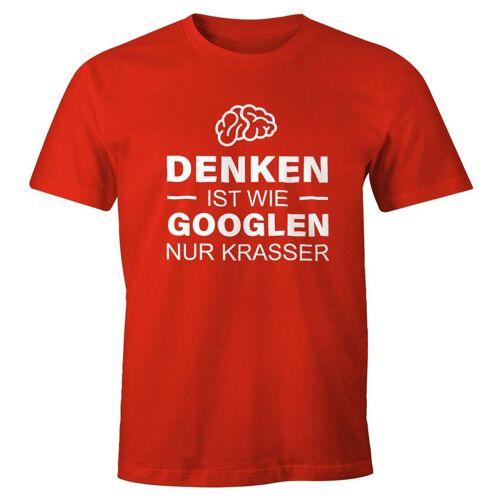 MoonWorks Print-Shirt »Denken ist wie googeln nur krasser Herren T-Shirt Fun-Shirt ®« mit Print, rot
