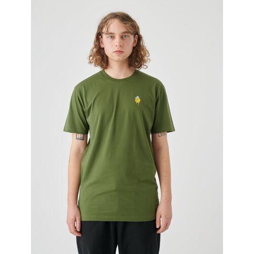 Cleptomanicx T-Shirt »Zitrone« Zitrone-Stickerei auf der Brust, grün