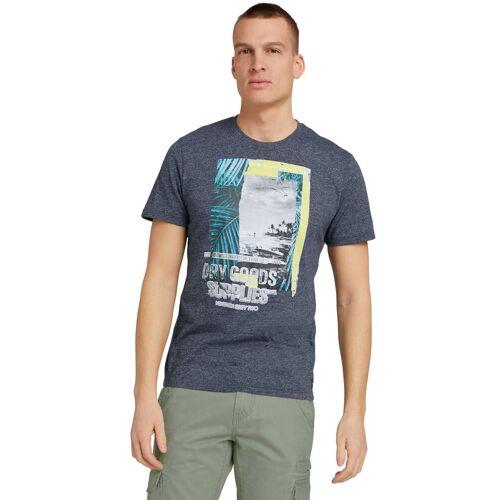 TOM TAILOR T-Shirt in melierter Optik, navy-meliert