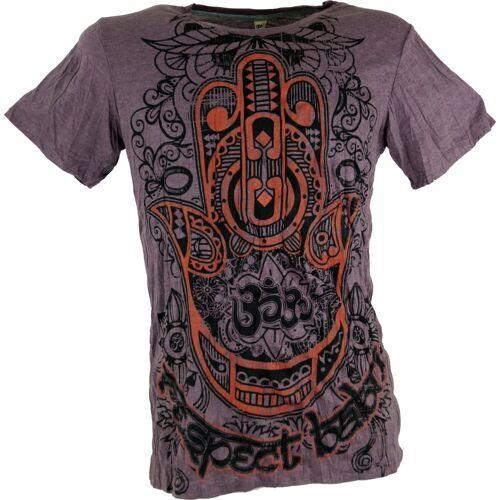Guru-Shop T-Shirt »Baba T-Shirt - Fatimas Hand mit Om«, Fatimas Hand mit Om