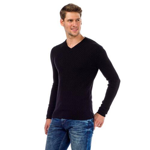 Cipo & Baxx V-Ausschnitt-Pullover mit modischem V-Ausschnitt, weiß