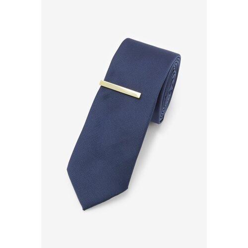 Next Krawatte »Twill-Krawatte und Krawattenklammer« (2-St), Navy