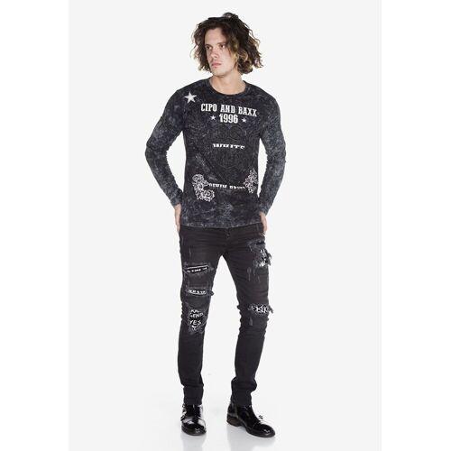 Cipo & Baxx Bequeme Jeans im Used-Look mit Print-Elementen