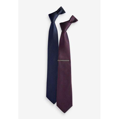 Next Krawatte »Krawatte mit Krawattennadel, Doppelpack« (3-St)