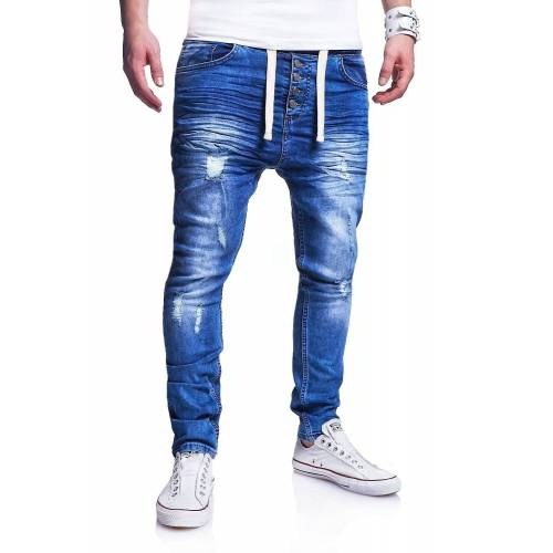 behype Slim-fit-Jeans »Mood« im coolen Jogger-Stil, blau