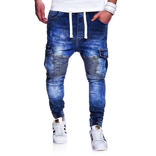 behype Slim-fit-Jeans »MORI« im Jogger-Stil, blau