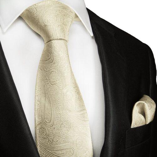 Paul Malone Krawatte »Herren Hochzeitskrawatte mit Tuch paisley 100% Seide Bräutigam Hochzeit Schlips« (Set, 2-St., Krawatte mit Einstecktuch) Schmal (6cm), champagner 2115, champagner