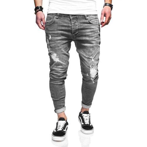 behype Slim-fit-Jeans »ODIN« mit Destroyed-Parts, grau