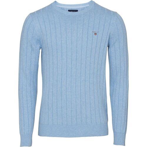 Gant Strickpullover »Baumwoll-Ripp Pullover«, Hellblau   Hellblau